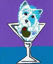 WESTIE Martini WHWT West Highland White Terrier Dog Art PRINT of Painting VERN