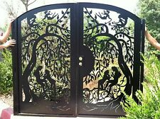 Metal Art Gate Custom Dual Entry Pedestrian Walk Thru Iron Garden Made in USA