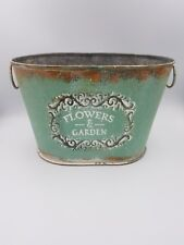 Green Vintage Zinc Flowers and Garden Planter Distressed Rustic Shabby Chic