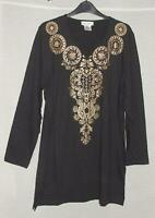 NEW Ulla Popken BLACK with GOLD Foil L/Sleeve Cotton jersey Top Size Large 12/14