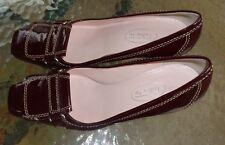 Talbots womens burgundy leather high heel shoes sz 6 1/2 B