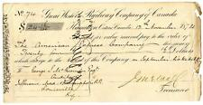 1874 Great Western Railway Company Canada Railroad Montreal Bank Check #74