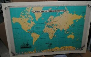 """VINTAGE KENWOOD WORLD MAP FOR THE RADIO AMATEUR 34.5"""" BY 24.5"""""""