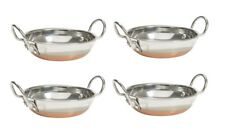 Stainless Steel Serving Balti Kadai with Copper Bottom Mini Wok Set of 4 Pcs