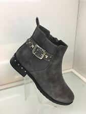 LADIES WOMENS FAUX LEATHER STYLE CHARCOAL GREY ANKLE RIDER BOOTS LOW HEEL SIZE 6