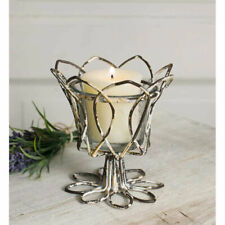 New ListingDistressed Metal Tulip Candle Holder For Votive & Tealight Candles Glass Cup