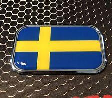 """SWEDEN FLAG CHROME Emblem SVERIGE Proud Flag Car Domed sticker 3D 3""""x 1.8"""""""