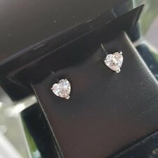 White gold finish heart created diamond stud earrings free postage gift idea