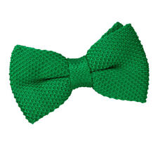 DQT Knit Knitted Plain Solid Forest Green Classic Mens Pre-Tied Bow Tie