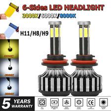 H11 H8 H9 LED Headlight 6 Sides COB Car Conversion BulbS Kit 3000K 8000K 6000K