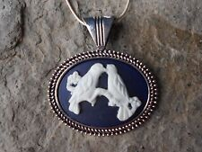 blue) 925 Plated Chain-Quality! Dove Love Birds Cameo Necklace (white on