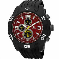 Men's Joshua & Sons JS92RD Quartz Chronograph Tachymeter Black Silicone Watch