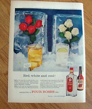 1957 Four Roses Whiskey Whisky Ad Red White & Cool