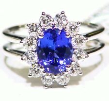 3.16CT 14K Gold Natural Tanzanite White Diamond Wedding AAAA Engagement Ring
