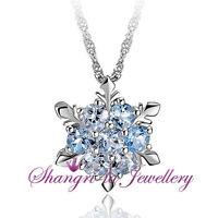 925 Sterling SILVER Frozen ELSA Blue SNOWFLAKE LAB Topaz Crystal NECKLACE SS1036