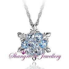 925 Sterling SILVER Frozen ELSA Blue SNOWFLAKE LAB Topaz Crystal NECKLACE SS1036