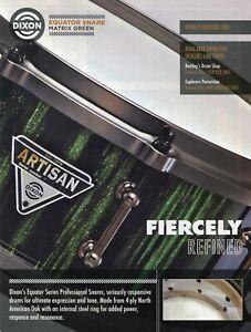 2012 Print Ad of Dixon Artisan Equator Matrix Green Snare Drum