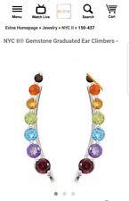 Chuck Clemency NYCII Sterling silver Rainbow gemstone climber ear earrings new