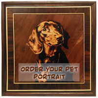 Your pet portrait wall art veneer picture  wood decor panel intarsia marquetry