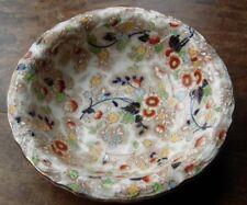 """Ceramic serving or fruit bowl 10.5"""" across gilded flowerey pattern"""