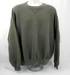 Vintage Russell Athletic Blank Sweatshirt Crew Neck Size XXL Olive Green 90's
