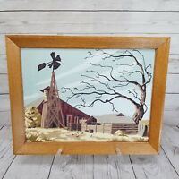 Vintage Paint By Numbers Barn Windmill Scene 1956 PBN Framed Signed Mid Century