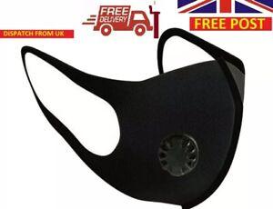 FACE MASK - UK  SELLER FILTER VALVE washable reuseable black Breathable Mask UK