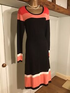 LOVELY LAURA ASHLEY ORANGE & BLACK KNITTED DRESS SIZE 12 - 14