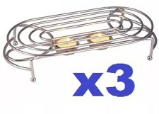 3x Oval Double Food Warmer Rack Stand Chrome + 2 Tea Light Candles Chafing New