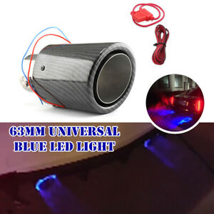 Universal 63mm Inlet Car Muffler Carbon Fiber Exhaust Pipe Tip w/ Blue LED Light