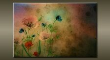 "LARGE FLOWER VINTAGE CANVAS WALL PICTURE FLASH ART 30"" 20"" 0459"
