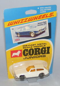 CORGI JUNIORS #12 RELIANT SCIMITAR GTE VINTAGE 1970 RARE WHITE BODY BLACK WHEELS