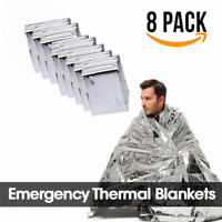 "8 Pack Emergency BLANKET Thermal Survival Safety Insulating Mylar Heat 84"" X52"""