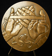 """Médaille Les mains hands Autoroute """"La Comtoise"""" 80mm Louis LEYGUE 1980 Medal"""