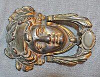 Original Antique Fine Hand Crafted Casted Brass European Child Face Door Knocker