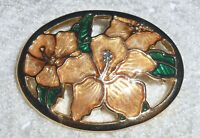 Vintage Peach Lily Flower Brooch Pin Openwork Oval Gold Tone