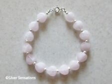 Romantic Pink Rose Quartz Heart Beads Bracelet Gift With White Swarovski Pearls