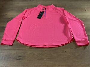 Under Armour HeatGear 1/2 Zip Long Sleeve Pullover Top Pink Womens M ( UW1465 )