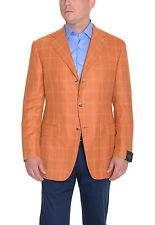 Sartoria Partenopea Slim Fit 40R 50 Orange Plaid 3 Button Camelhair Sportcoat