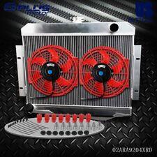 """Aluminum Radiator + 2* 10"""" Cooling Fan For 72- 86 Jeep Cj Cj5 Cj6 Cj7 3.8-5.0 Mt"""