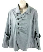 Neon Buddha XL Button Down Stretch Jacket Gray Pleated Sleeve Strap Cotton Blend