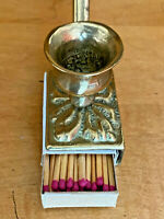 Vintage Brass Candle Stick Holder & Matchbox Insert Holder Ornate Handmade