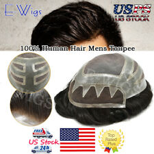 French Lace with Zigzag in Front Hair System Fine Mono Men Toupee Poly Hairpiece