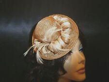 Small Petite BROWN AND BEIGE CIGARETTE GIRL SINAMAY HAT HAIR COMB ATTACHED