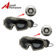 2pcs Tactical Military Airsoft Anti-fog Dust Regulator Safety Goggles w/ Fan DE