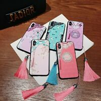 Embossed Chinese Style Tassel Soft Phone Case for iPhone 11 12 Pro Max X XS 7 8