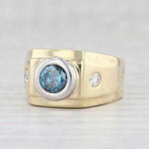 1.34ctw Blue White Diamond Ring 18k Gold Size 9.25 Men's Round Brilliant