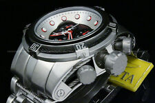 Invicta 53mm Reserve Bolt Zeus Swiss ETA Chrono Black Dial Red Accent S.S Watch