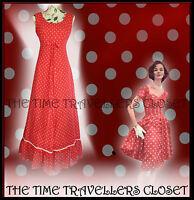Clive Byrne True Vintage 60's Red White Polka Dot Maxi Dress Hippy Festival Uk 8