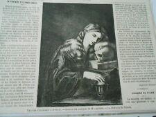 Gravure 1869 - La Madeleine de Ribera ( jeunne femme avec un crane ) 3cd211d82a1